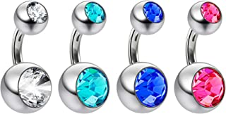 4pc 14g Swarovski Crystal Double CZ Gem Belly Button Ring 316L Surgical Steel Shallow Navel 6mm 1/4
