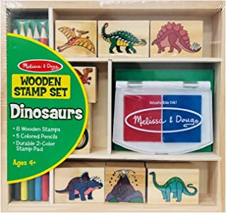 Melissa & Doug Wooden Stamp Set - Dinosaurs (Arts & Crafts, Sturdy Wooden Storage Box, Washable Ink, 14 Pieces, Great Gift for Girls and Boys – Best for 4, 5, 6, 7 and 8 Year Olds)