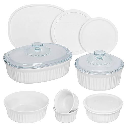 CorningWare French White Round and Oval Ceramic Bakeware, 12-Piece