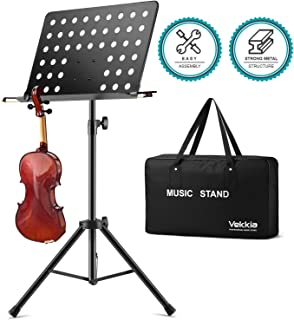 Vekkia Music Stand for Sheet Music - 19.68`x13.31` Extra-Wide Bookplate, Metal Portable Stand with Carrying Bag, Suitable for Instrumental Performance & Band, Black