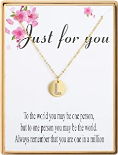 Dainty Disc Initial Necklace 18K Real Gold-Plated Letters A to Z 26 Alphabet Disc Pendant Necklace for Women Birthday Gifts