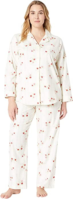 Plus Size Brushed Twill Long Sleeve Classic Notch Collar Pajama Set