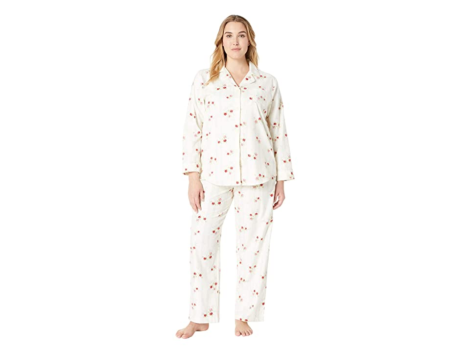 LAUREN Ralph Lauren Plus Size Brushed Twill Long Sleeve Classic Notch Collar Pajama Set (Ivory Floral) Women
