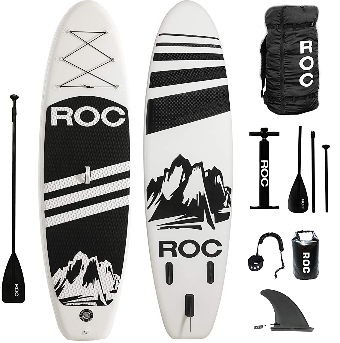 Roc Inflatable Stand Up Paddle Boards W Free Premium SUP Accessories & Backpack { Non-Slip Deck } Bonus Waterproof Bag, Leash, Paddle and Hand Pump !!! Youth & Adult