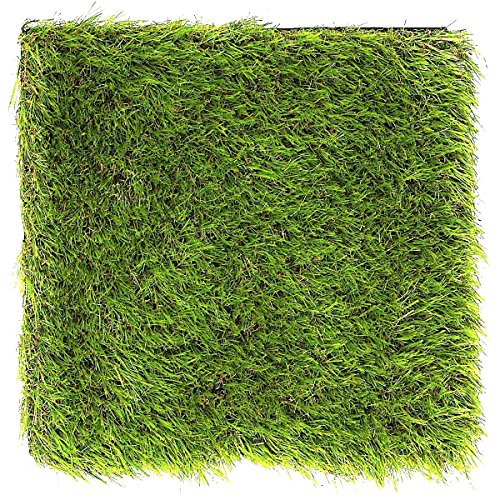 LULIND - 1 Artificial Grass Square Tile - 12.2 x 12.2 Inch Small Green Turf Rug