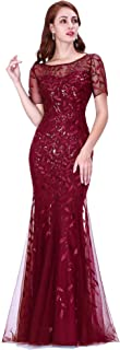Women's Illusion Embroidery Elegant Mermaid Evening Dress 07707