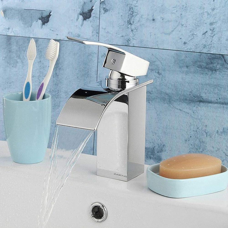 ZHFJGKR&ZL Tap Bathroom Waterfall Basin Sink Faucet Chrome Polish Single Handle Single Hole Mixer Tap Deck Mounted