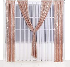 Poise3EHome Sequin Backdrop Curtain 2 Panels 3Ftx7Ft for Wedding Party Decor, Rose Gold