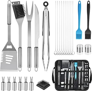 Jhua BBQ Grill Tools Set, 25pcs BBQ Grill Accessories Set Stainless Steel Grill Set, Heavy Duty Barbecue Grill Tool Set with Carry Case BBQ Utensils Grilling Accessories for Men Women Outdoor Indoor
