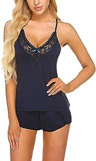 ADOME Women Sleepwear Lace Pajamas Set Camisole Shorts Set Modal Pjs Nightwear Lingerie
