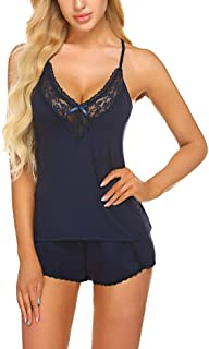 Women Sleepwear Lace Pajamas Set Camisole Shorts Set Modal Pjs Nightwear Lingerie