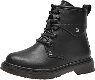 PPXID Boys Girls Leather Combat Boots Lace-Up and Side Zip Short Hiking Boots Snow Boots