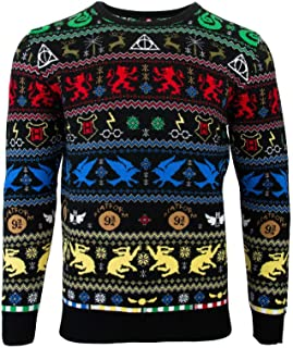 Numskull Harry Potter Ugly Christmas Sweater Houses Unisex Knitted Christmas Sweater for Men and Women