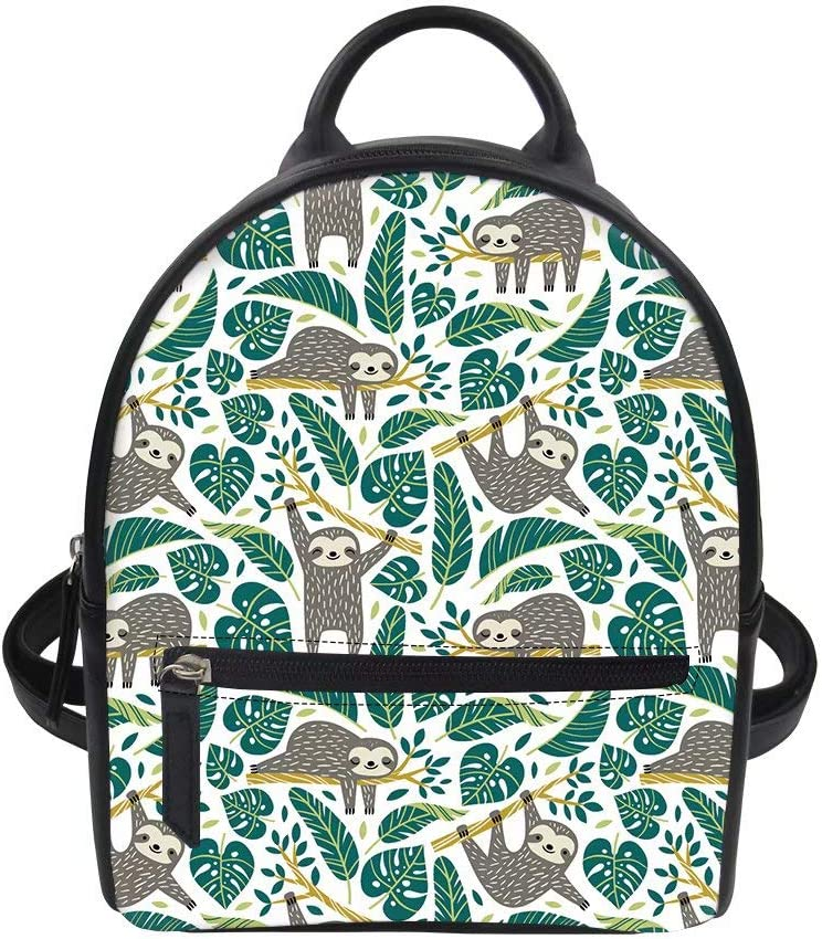 FOR U DESIGNS PU Letters Girls Mini Backpack Cute Sloth Pattern Purse Lightweight PU Leather Fashion Backpack Gift