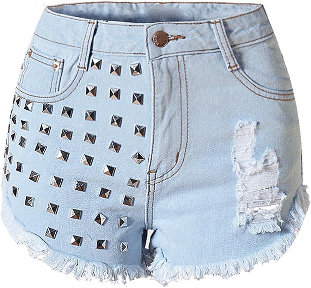 Blansdi Women High Waist Distressed Ripped Holes Tassel Rivet Denim Hot Shorts