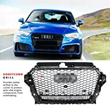 FidgetKute for RS3 Quattro Style Front Sport Hex Mesh Hood Grill Gloss Black for Audi A3/S3
