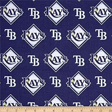 Fabric Traditions MLB Cotton Broadcloth Tampa Bay Rays Blue/White Fabric By The Yard