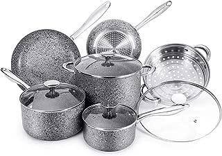 MICHELANGELO Granite Cookware Set 10 Piece, Ultra Nonstick Pots and Pans Set with Stone-Derived Coating, Stone Cookware Set Nonstick, Include 8Qt Stock Pot & Steamer Insert - 10 Piece