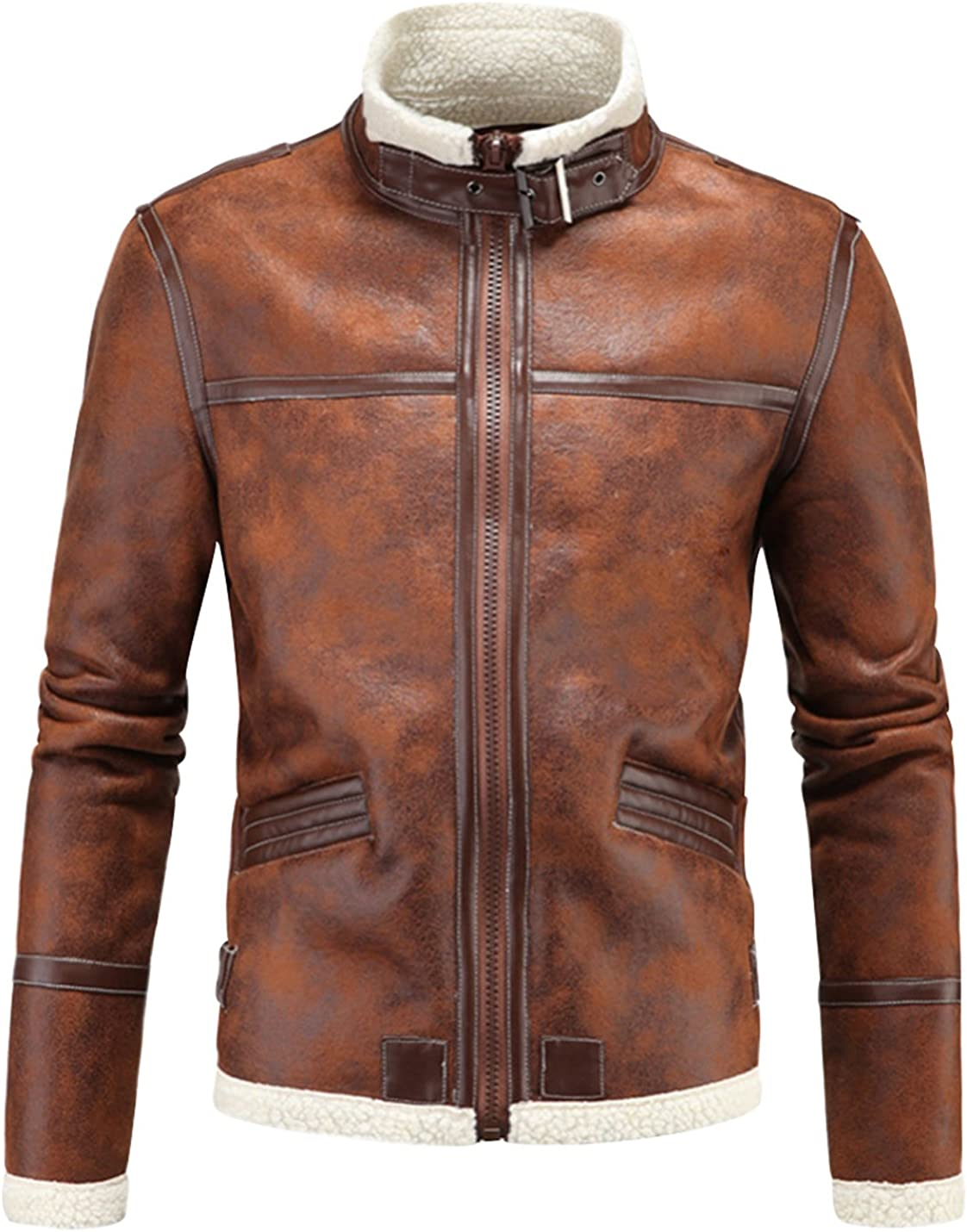 Gihuo Men's Vintage Sherpa Lined Jacket Suede Moto Max 69% OFF Ranking TOP1 Leather Faux