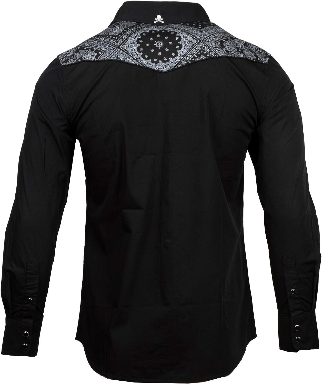Rock Roll n Soul Men's Western-Inspired 'Otherside' Bandana-Trim Long Sleeve Button-Up Shirt 790