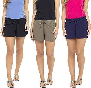 Ladies 3 Pack Cool Cotton Blend Summer Shorts Lounge Beach Shorts UK Sizes 8-22