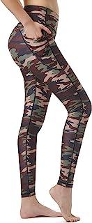 Zeronic Women's High Waist Yoga Pants with Pockets Printed Leggings Workout Running 4 Way Stretch Pattern Yoga Leggings