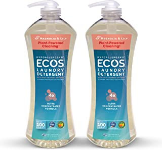 Earth Friendly Products Ecos 4X Ultra Concentrated Liquid Laundry Detergent, 200 Loads, 2 x 50 oz Magnolia & Lily (2Count)