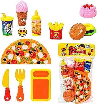 Jiada HMC Plastic Kitchen/Restaurant Role Pretend Pizza Cutting Play Fast Food Set (Multicolour)