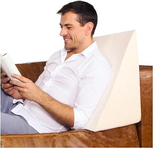 Purovi® Cojín con Forma de Cuña para Cama y Sofá | Perfecta Sujeción de Espalda | Almohada de Lectura | 30 x 50 x 60 cm