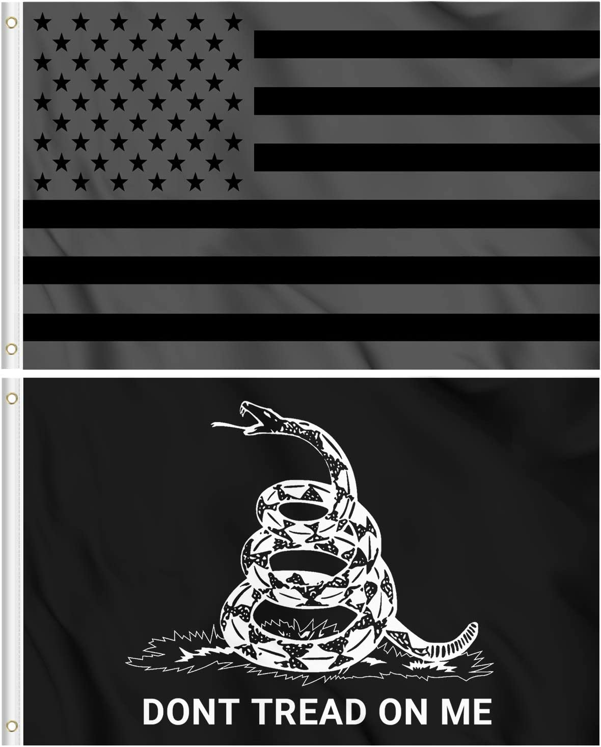 KENPMA All Black Out American Flag - Don't Tread On Me Gadsden Flag 3x5 ft 2-Pack Wall Banners House Porch Yard Lawn Decorative Sign US Outdoor Flag with Grommets - Printed Polyester Fade Proof