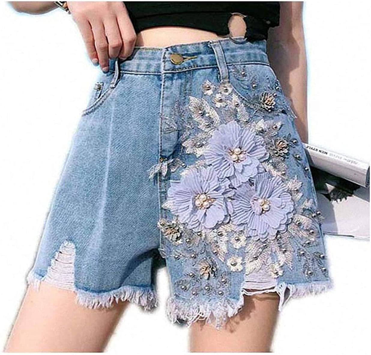 Summer Women Embroidery Beads Pearls Wide Leg Tassel Red Black Denim Shorts Womens High Waisted Jeans Shorts