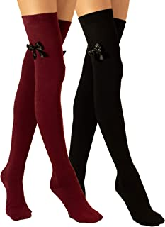 2 Pack extra largo sobre la rodilla hasta el muslo, lazo, punto fino de algodón, para niñas y mujeres, fabricado en Europa