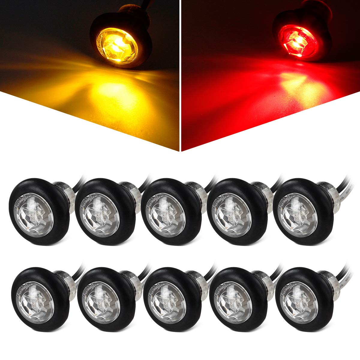 Rubber Grommet w//Plugs Partsam 5x Amber Side indicator LED Marker Clearance Truck Light Lamp 12V