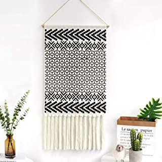 Dremisland Macrame Woven Wall Hanging Tapestry- Boho Chic Bohemian Black&White Geometric Art Decor - Beautiful Apartment Dorm Room Door Decoration, 17.3