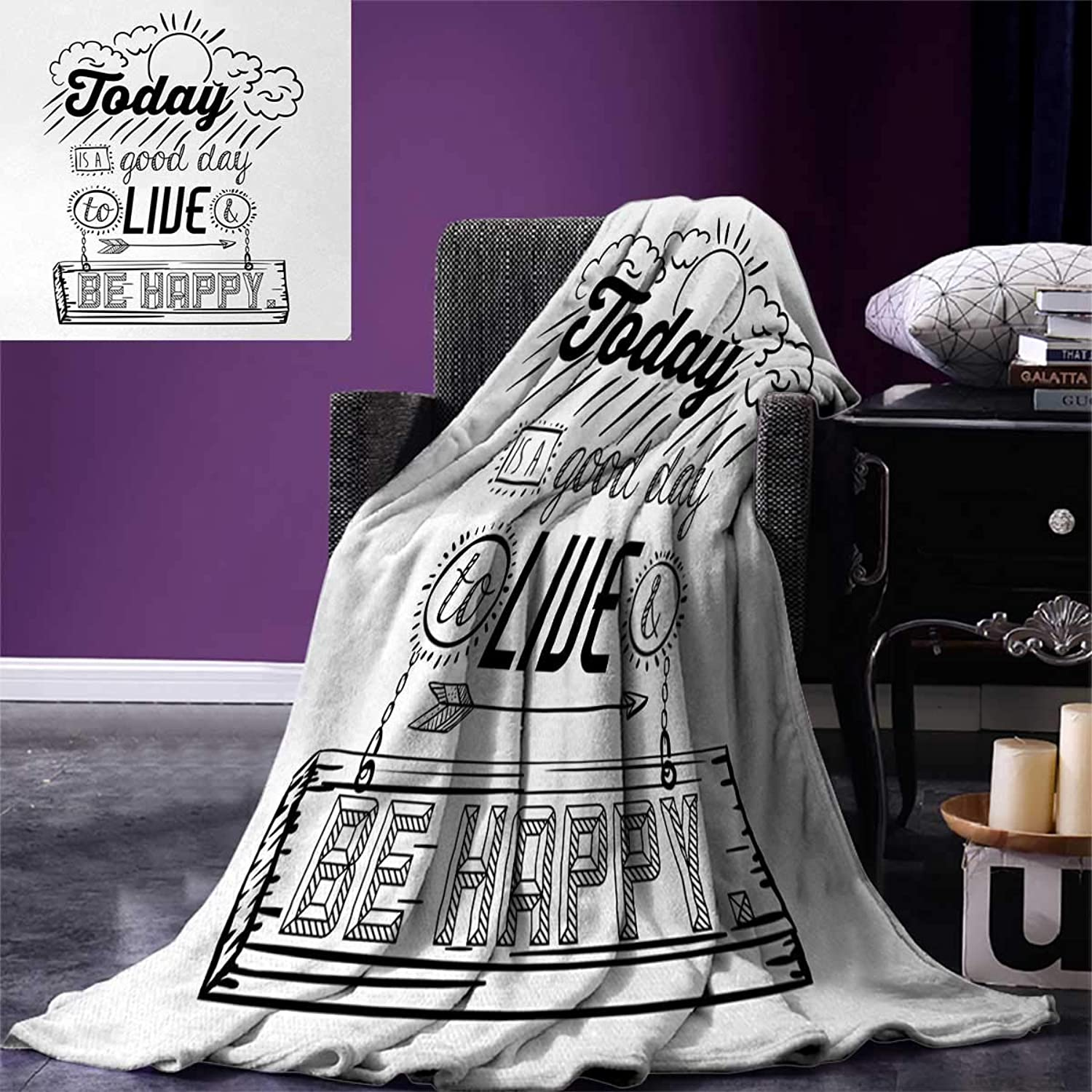 Anniutwo Quotes Travel Throw Blanket Today is a Good Day to Live be Happy Enjoy Reminding Gratitude Inspire Vision Velvet Plush Throw Blanket 60 x50  Black White