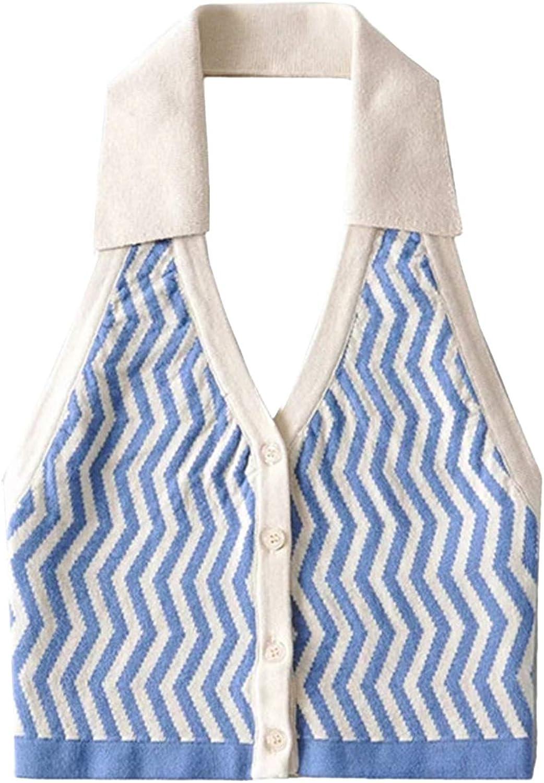 Women Fashion Halter Vest Y2K Striped Knitted Vest Slim Fit Halter Vest Streetwear Top