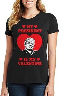 Threadrock Women's Trump My President is My Valentine T-Shirt