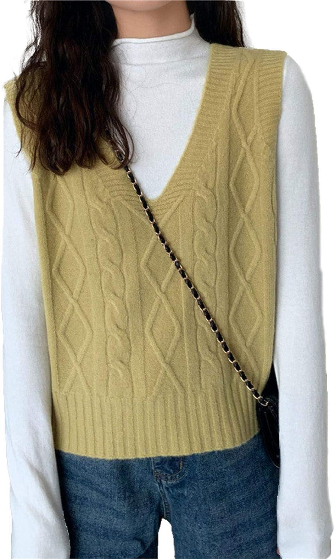 Womens Knit Vintage Sweater Vest Sleeveless V Neck Crop Sweater Girls Tank Tops.