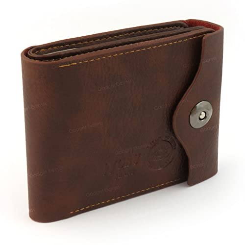 Wobu Mens Brown Luxury High Quality Soft Leather Trifold Wallet Multiple Credit Card Holder Slots Coin