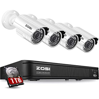 ZOSI H.265+ 1080p Home Security Camera System Outdoor Indoor, Security DVR 8 Channel with Hard Drive 1TB and 4 x 1080p Surveillance Bullet Camera, Remote Access, Motion Detection