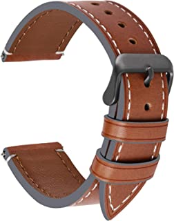 4 Colors for Smart Watch Strap, Fullmosa Top Leather Watch Band Replacement 18mm,Dark Brown + smoky grey buckle