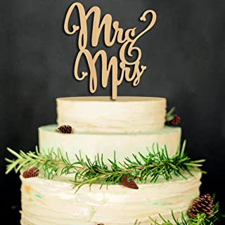 Mr and Mrs Cake Toppers Rustic Wood Wedding Aniversary Party Engagement Decoration
