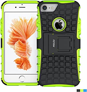 iPhone 7 Case,Fetrim Rugged Dual Layer Shockproof TPU Case Protective Cover for Apple iPhone 7/8 with Built-in Kickstand (Green)