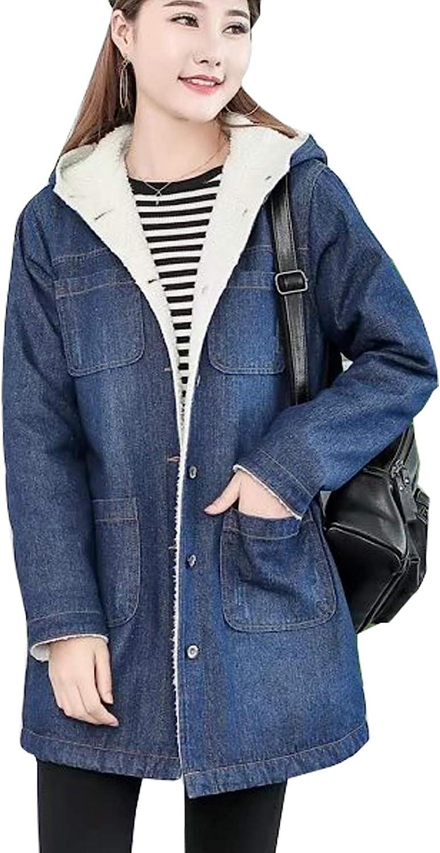 Flygo Womens Boyfriend Sherpa-Lined Mid Long Hooded Denim Trucker Jacket Jean Coat Outwear
