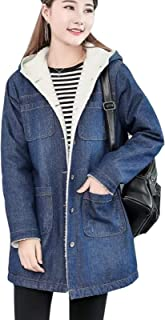 Flygo Womens Sherpa Lined Mid Long Hooded Denim Jacket Jean Coat Outwear