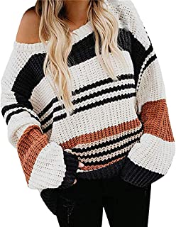 LENXH Women's Contrast V-Neck Sweater Long-Sleeved Large Size Pullover Fashion Autumn and Winter Stitching Sweater