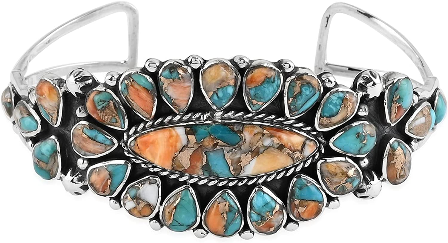 Ranking TOP5 Shop LC Santa Fe Style 925 Silver Cuff Sterling Spiny Max 65% OFF Turquoise