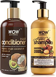 WOW Coconut & Avocado Oil No Parabens & Sulphate Hair Conditioner, 300mL & WOW Skin Science Moroccan Argan Oil Shampoo, 30...