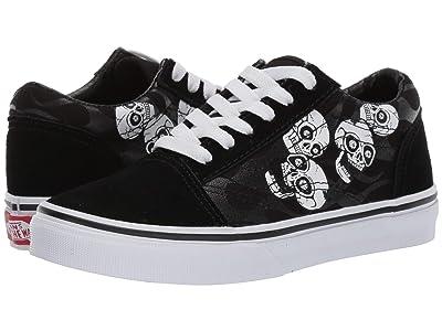 Vans Kids Old Skool (Little Kid/Big Kid) ((Glossy Flame) Skulls/Black) Boys Shoes