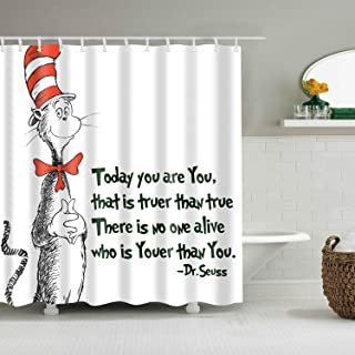 BARTORI Home Decor Shower Curtain Hooks Inside Seuss Cat in The Hat White Background Waterproof Polyester Fabric Bath Curtain with Size 71''X71''
